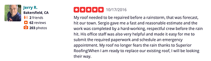Happy Roofing Customer on Yelp Bakersfield, CA