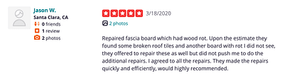 5 Star Yelp Review Screenshot Superior Roofing